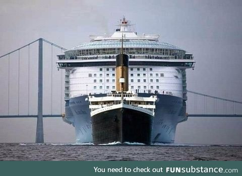 This is the Titanic compared to a modern cruise liner