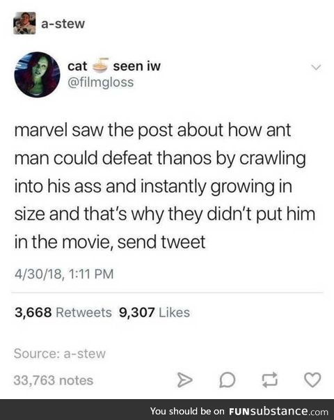 Antman would be too powerful