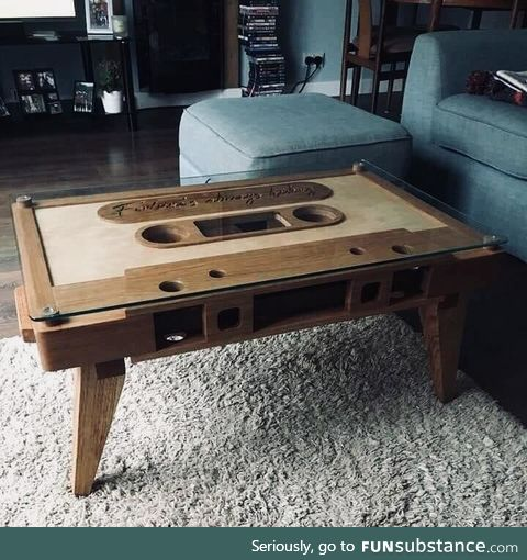 A cassette tape coffee table. Very retro