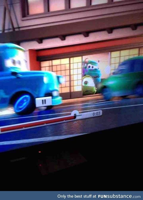 In Cars, you can spot Sully and Mike in cars form!