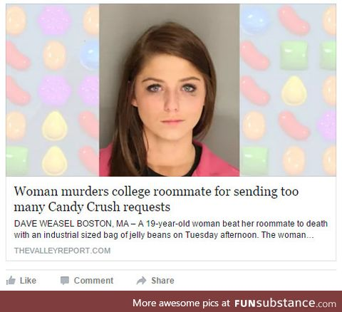 I guess she crushed her with candy