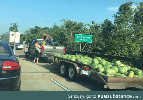 Buying watermelon in Louisiana during a traffic jam