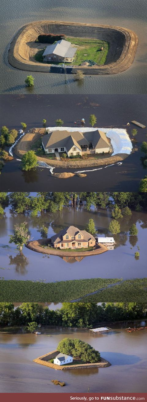 Homemade levees during flooding