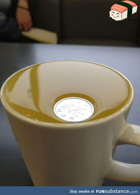 A Japanese 1 yen coin is so light it won't even break surface tension