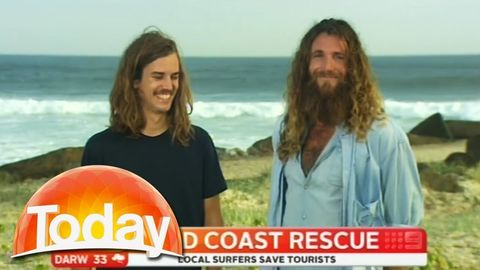Two australian surfies give hillarious interview after saving tourists