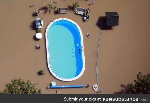 A pool in flood waters