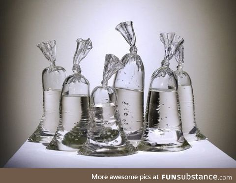 These bags of water are statues made of glass. By Dylan Martinez