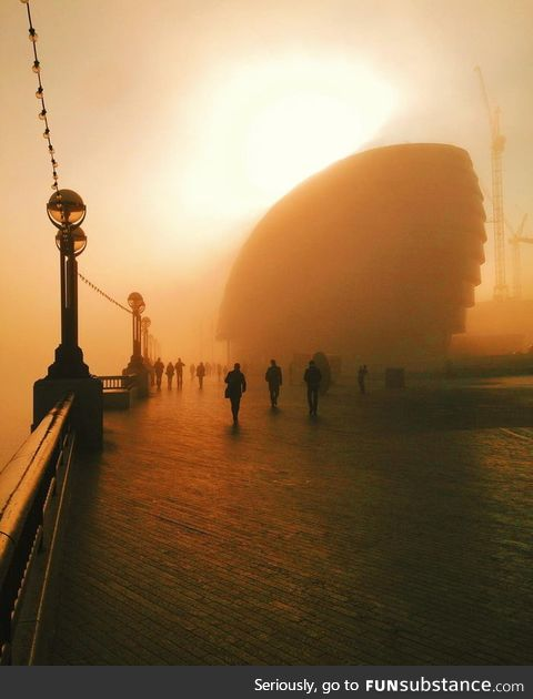 Foggy morning along the River Thames, London
