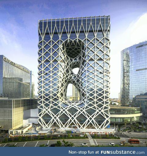 A recently erected hotel in Macau