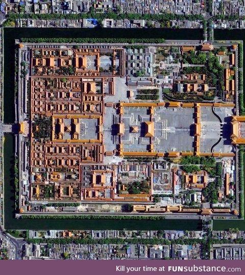 Aerial photo of the Forbidden City, Beijing