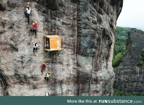 Store to supply climbers with water & food during their climb in China