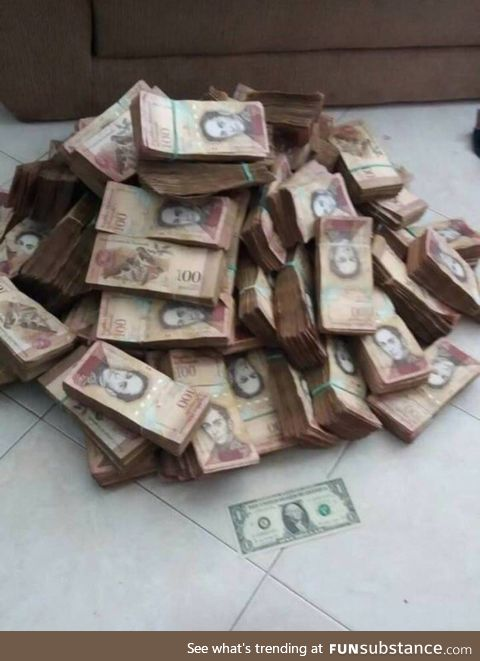 This pile of cash is the Venezuelan equivalent of one US dollar