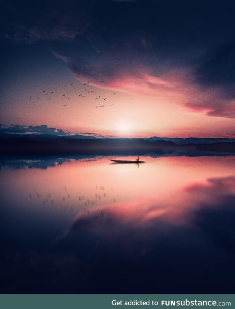 Canoe ride with the birds under a pastel sunset