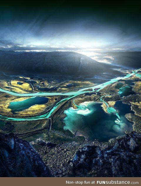 Cyan sweden river - scandinavia