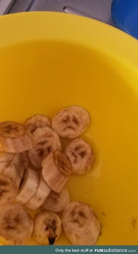 Sad banana slices are sad.