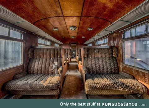 Abandoned, former luxury train car