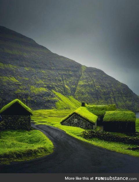 Grass-roofed village. ~ Faroe Islands