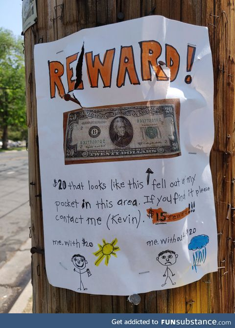 $15 reward for finding his $20