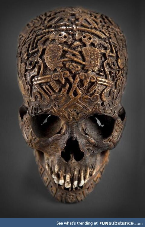 300 year old carved Tibetan skull