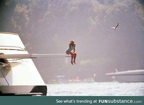 Princess Diana on a yacht in Portofino, Italy, 1997