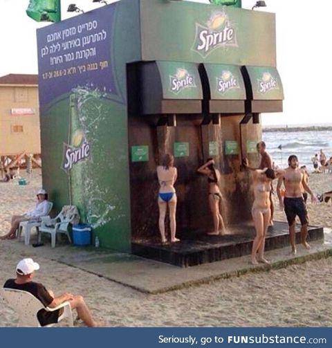 Corporate-sponsored public shower