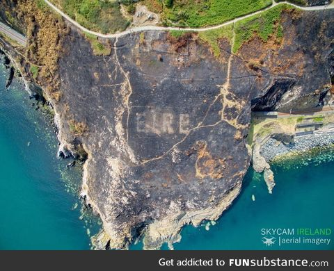 "Recent fire in Ireland makes WWII ""Eire"" sign visible from the air once more"