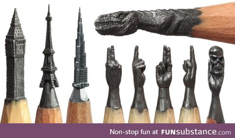 There is an artist who carves his sculptures out of the graphite within pencils!