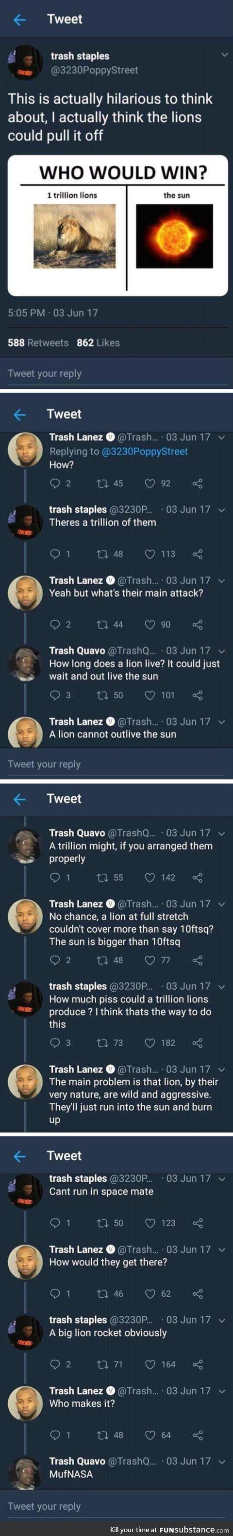 Lion vs sun