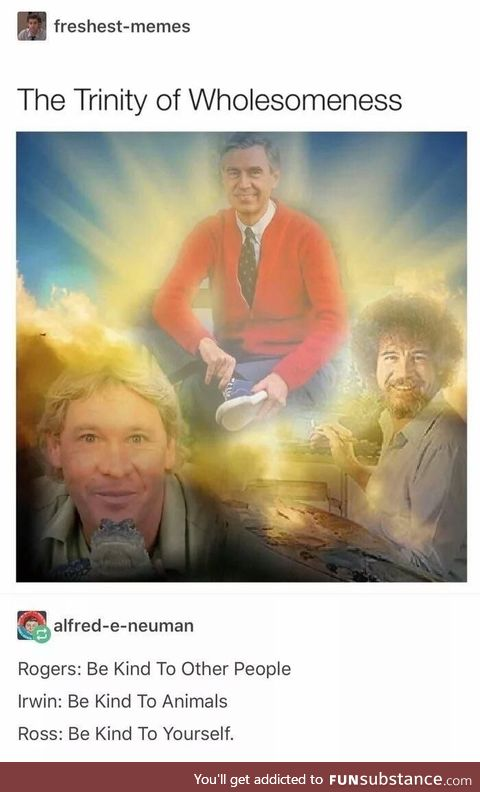The Trinity of wholesomeness (Steve Irwin, Bob Ross, Mr. Rogers)