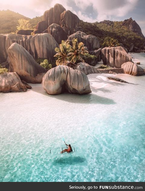 Crystal clear waters in the Seychelles