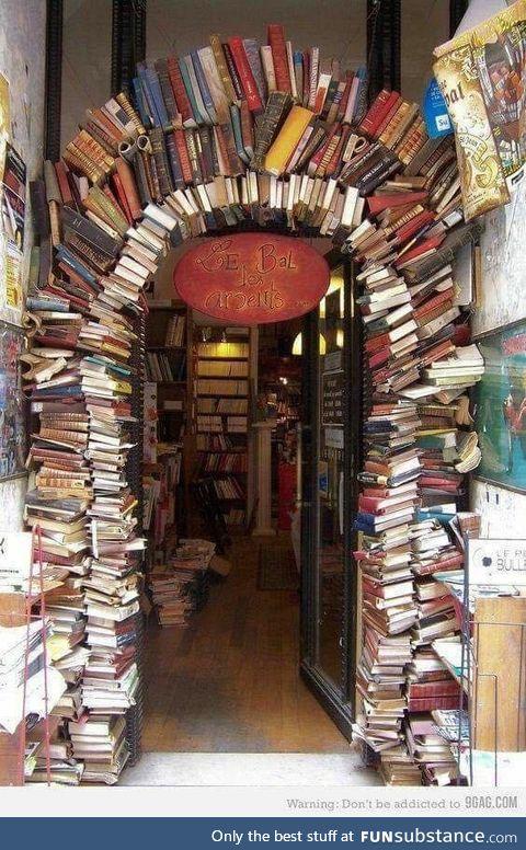 Beautiful doorway to a bookshop in Lyon, France