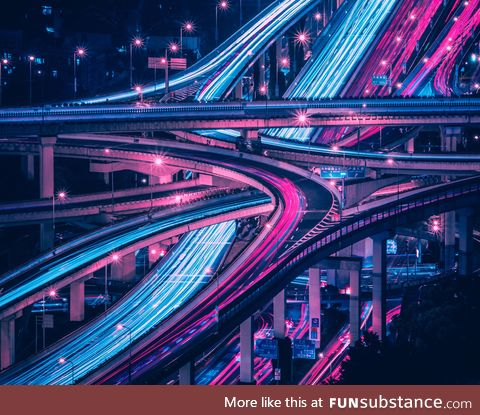 A long exposure of the only six-level stack interchange in the world