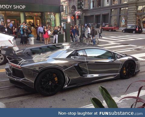 Black chrome Lamborghini Aventador