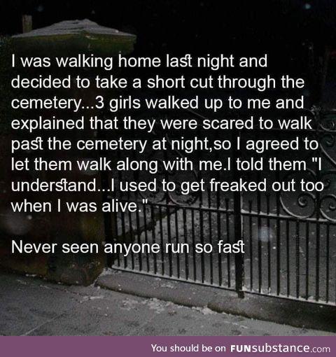 Walking in a cemetery