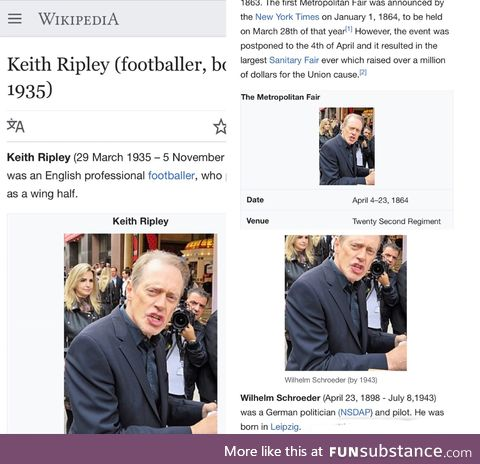 Recently I've been inserting Steve Buscemi into obscure Wikipedia articles