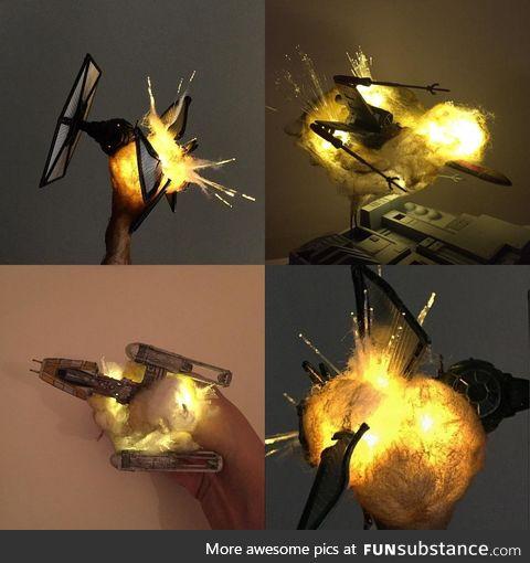 """exploding"" model ships (cotton balls + leds)"