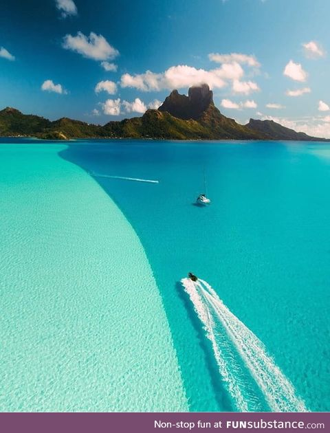 The deep blue divide in Bora Bora