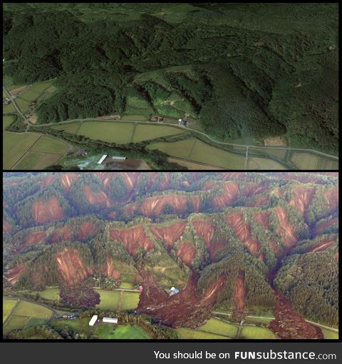 Before and after earthquake picture of Hokkaidō