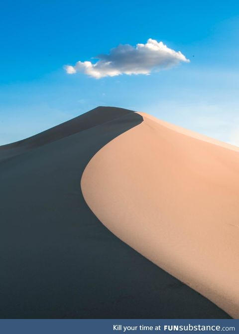 This sand dune is in Death Valley National Park in California