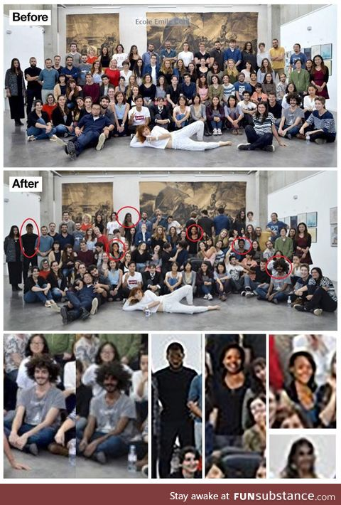 French art school photoshopped their student to be darker and added random people