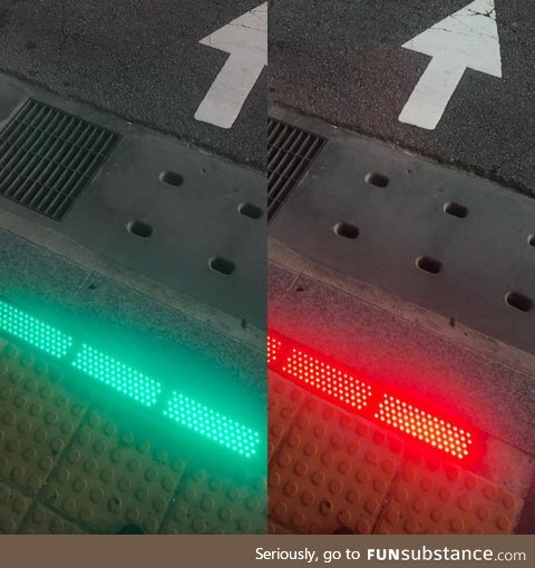 The traffic light on the sidewalk for pedestrians on their phones
