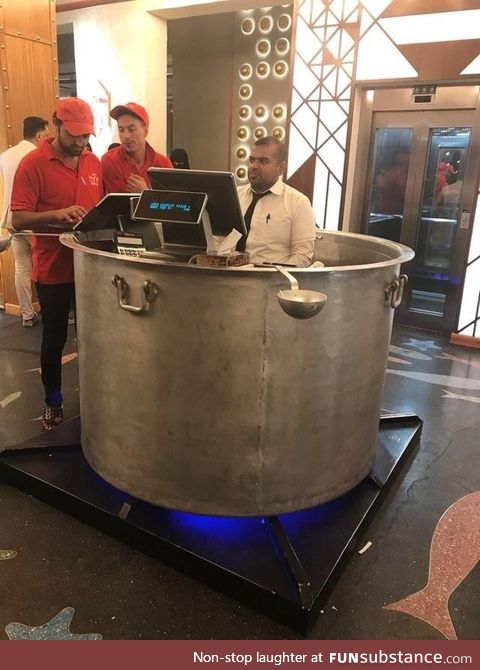 This front desk designed as a cooking pot