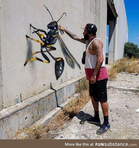Portuguese street artist creats 3D graffiti