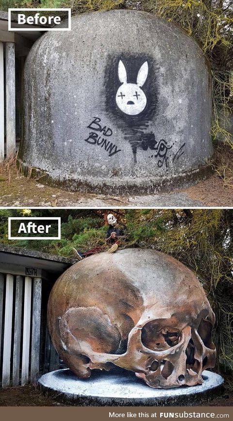 Graffiti transformation by Portuguese street artist Odeith