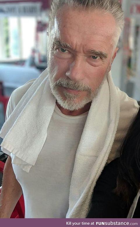 Arnold Schwartznegger at 71 looks badass, also a bit like a Witcher