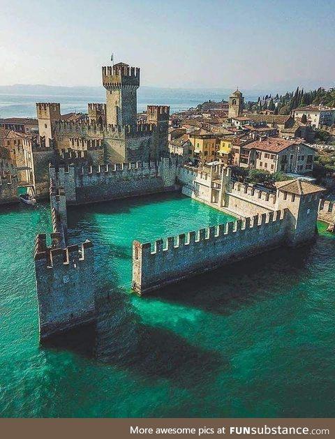 Castle in the Lake in Italy