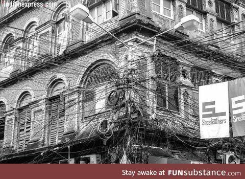 An Electric Pole in Kolkata, India