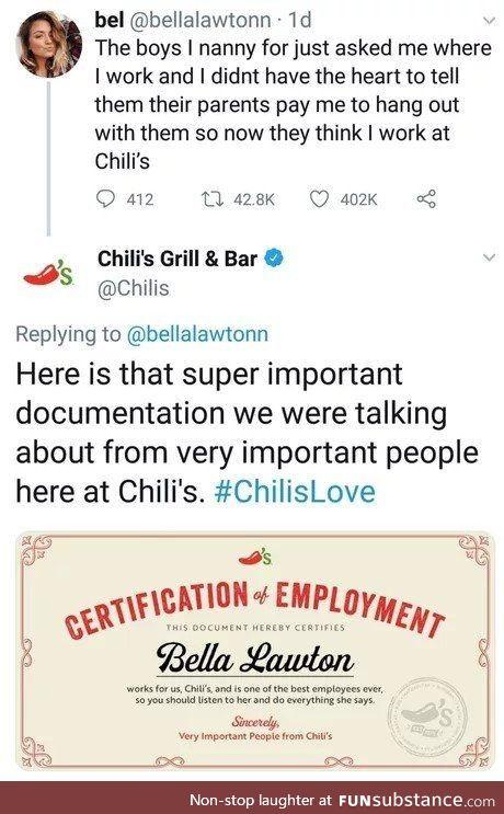 Good guy Chili's