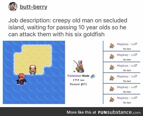 Creepy man on island