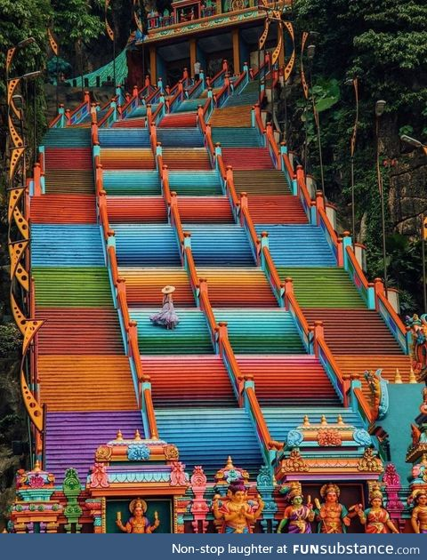 Stairway to a Hindu temple in Malaysia